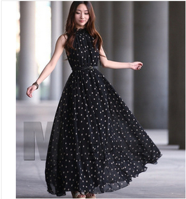 ... Long One Piece. Hot Ing 2017 Dots Dew Shoulders Women Summer Dress Black  Red 35418f4e0
