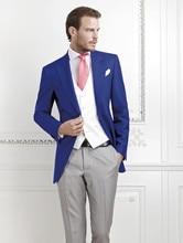 Fashion Style One Button Royal Blue Groom Tuxedos Groomsmen Men's Wedding Prom Suits Bridegroom (Jacket+Pants+Vest+Tie) K:539