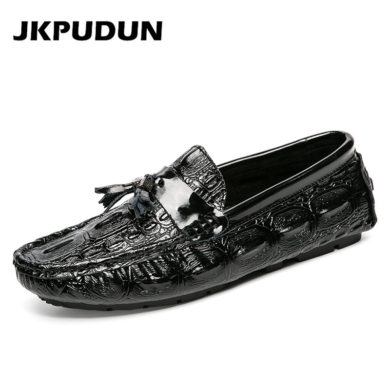 JKPUDUN Genuine Leather Shoes Mens Tassel Loafers Luxury