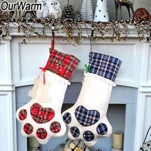 Image 2 - OurWarm Plaid Christmas Stocking New Year Gift Bag for Pet Dog Cat Christmas Goods Xmas Tree Hanging Ornaments navidad 2018