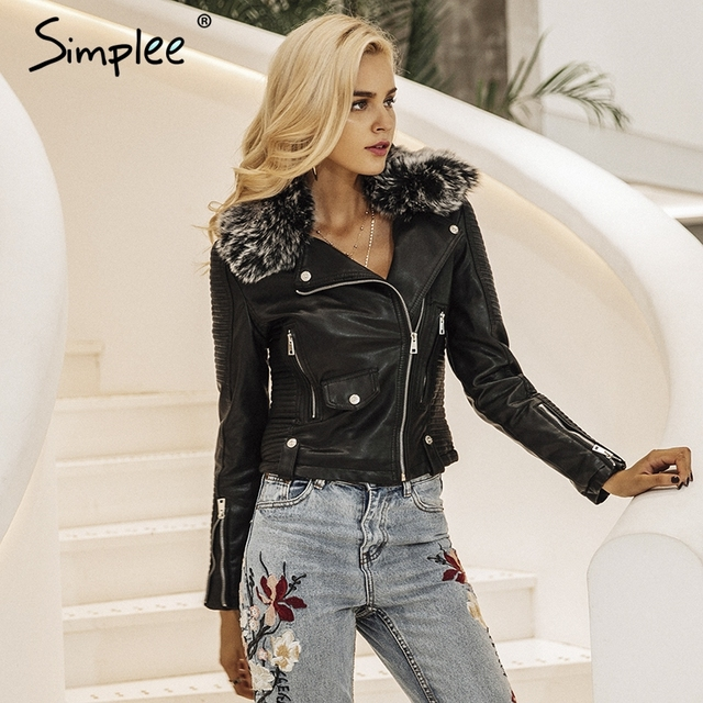 Simplee אופנה בסיסית צווארון פרווה מעיל Streetwear מעילי הלבשה עליונה מעיל נשים מעיל עור נשי מעיל PU דמוי עור שחור