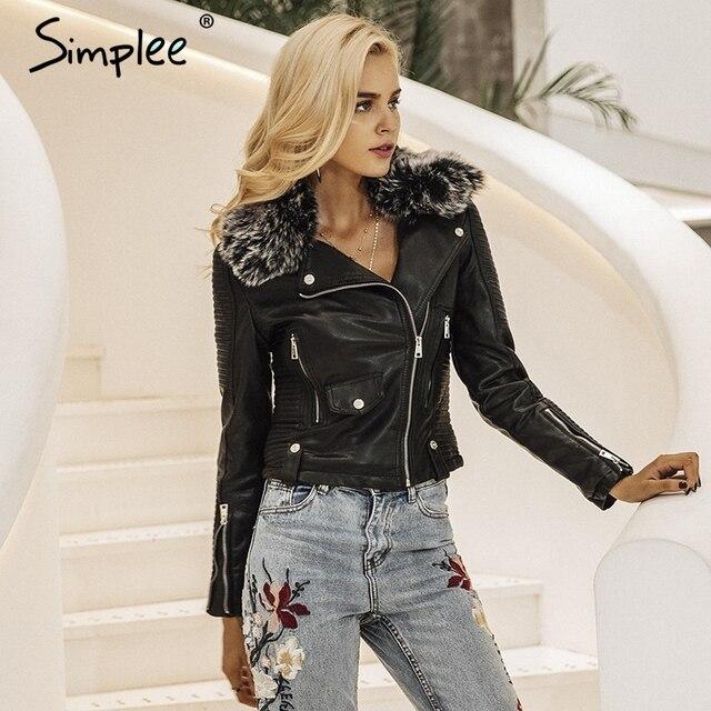 Simpleeファッション毛皮の襟基本ジャケットコート上着コートストリートブラックフェイクレザーコート女性puレザージャケット女性