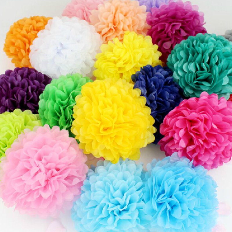 1pcs 10cm Paper PomPom Tissue Ball Decorative Supplies Flower For Wedding Home Party Room Banquet Decoration Pompon bobble Craft
