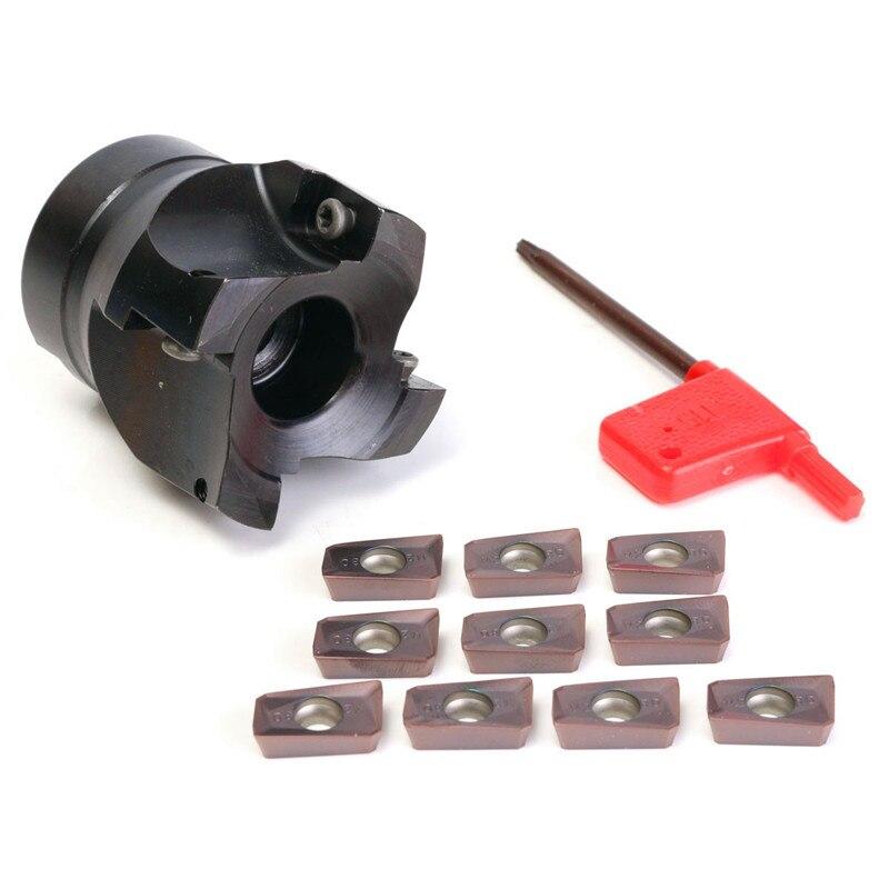ФОТО Hot Sale 400R-50MM-22 4 Flute Face End Mill Flat Cutter +10pcs APMT1604 Carbide Inserts APMT 1604 PDER
