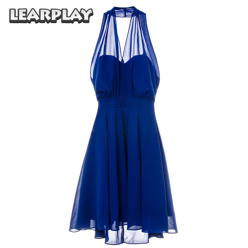 La La land Mia Blue Dress Cosplay Costume Emma Stone Sexy Party Evening Dresses Backless V