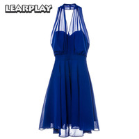 La La land Mia Blue Dress Cosplay Costume Emma Stone Sexy Party Evening Dresses Backless V Neck Women Dress Halloween Dress
