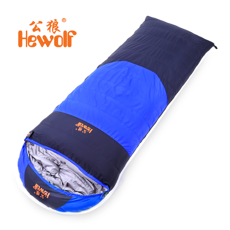 Hewolf Brand outdoor sleeping bags thick ultra - light camping spring and autumn envelopes winter warm indoor down sleeping bags naturehike fish bone sleeping bags mummies adult outdoor autumn and winter sleeping bags ultra light
