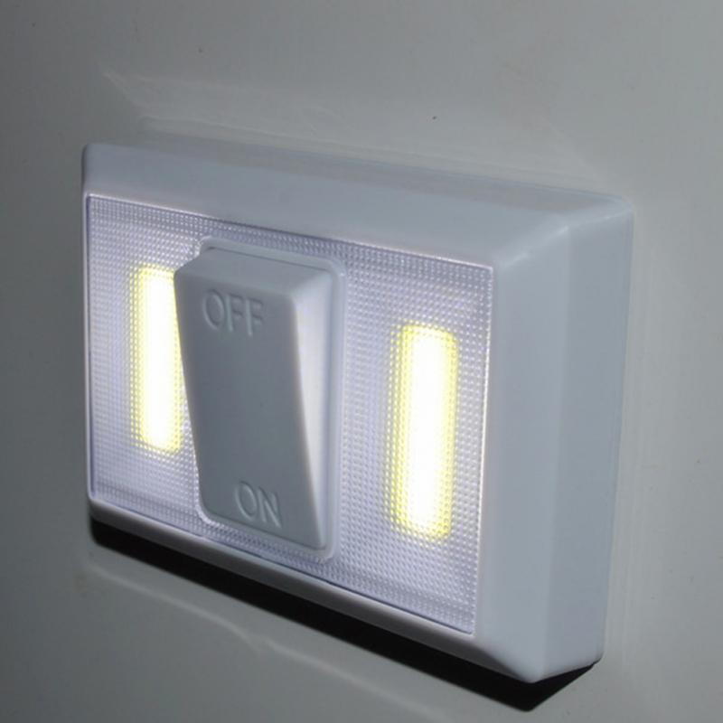 Adhesive Switch COB LED Light Lamp Wall Light Battery Operated Cabinet Light #027