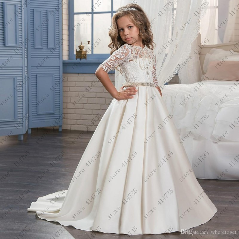 Customized 2019   flower     girl     dresses   for weddings Cute long lace vestido primera comunion 2-14 comunion   dress