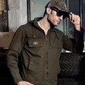 Бренд мужской Одежды Куртка Человек 100% Хлопок Армия Зеленый Хаки Военная Куртка Мужчины Hat Съемный Случайный Пальто