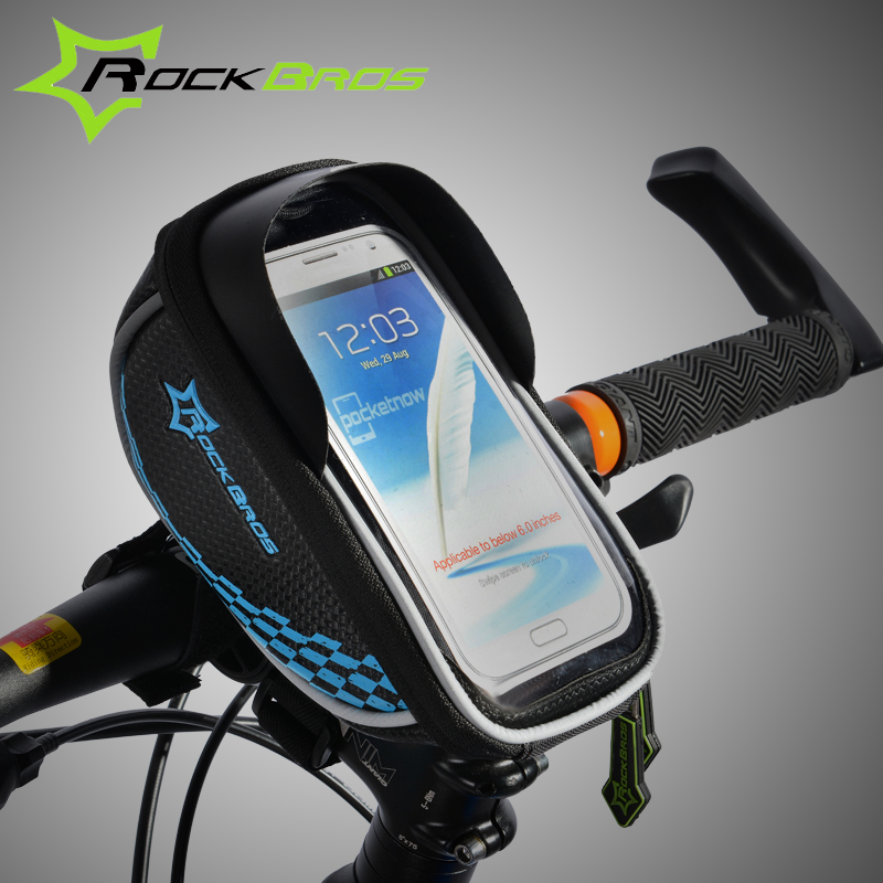 ROCKBROS Rainproof Cycling Bag Bike <font><b>Accessories</b></font> Touch Screen Bicycle Bag For 5.5 Inch Mobile Phone Holder Mtb Small Cycling Bag