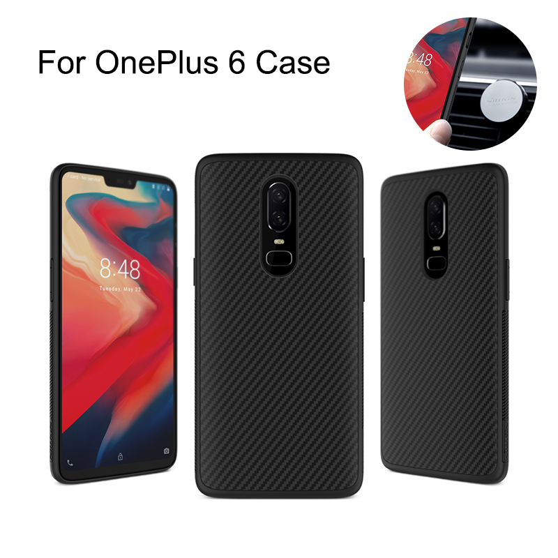 Nillkin Synthetic Fiber Carbon PP Plastic Back Cover For One Plus 6 Case 6.28'' Magnetic Ultra Thin Slim Oneplus 6 Cover Case