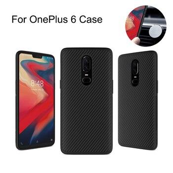 Nillkin Synthetische fiber Carbon PP Plastic Achterkant voor one plus 6 case 6.28 ''Magnetische ultra dunne slanke oneplus 6 cover case
