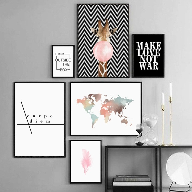 Watercolor World Map Giraffe Balloon Wall Art Canvas  1