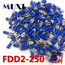 FDD2-250 женский изолированный Электрический обжимная Клемма для 1,5-2.5mm2 Разъемы Кабель провод разъема 100 шт./упак. синий