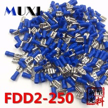 цена на FDD2-250 Female Insulated Electrical Crimp Terminal for 1.5-2.5mm2 Connectors Cable Wire Connector 100PCS/Pack  BLUE