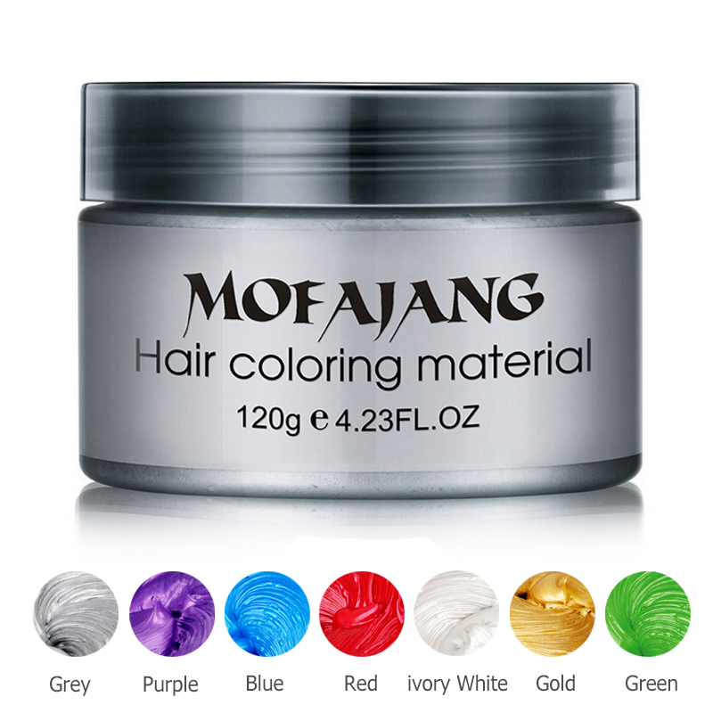 Color Hair Wax Styling Pomade Silver Grandma Grey Midlertidig Hårfarge Disponibel Moteforming Coloring Mud Cream Dropshipping
