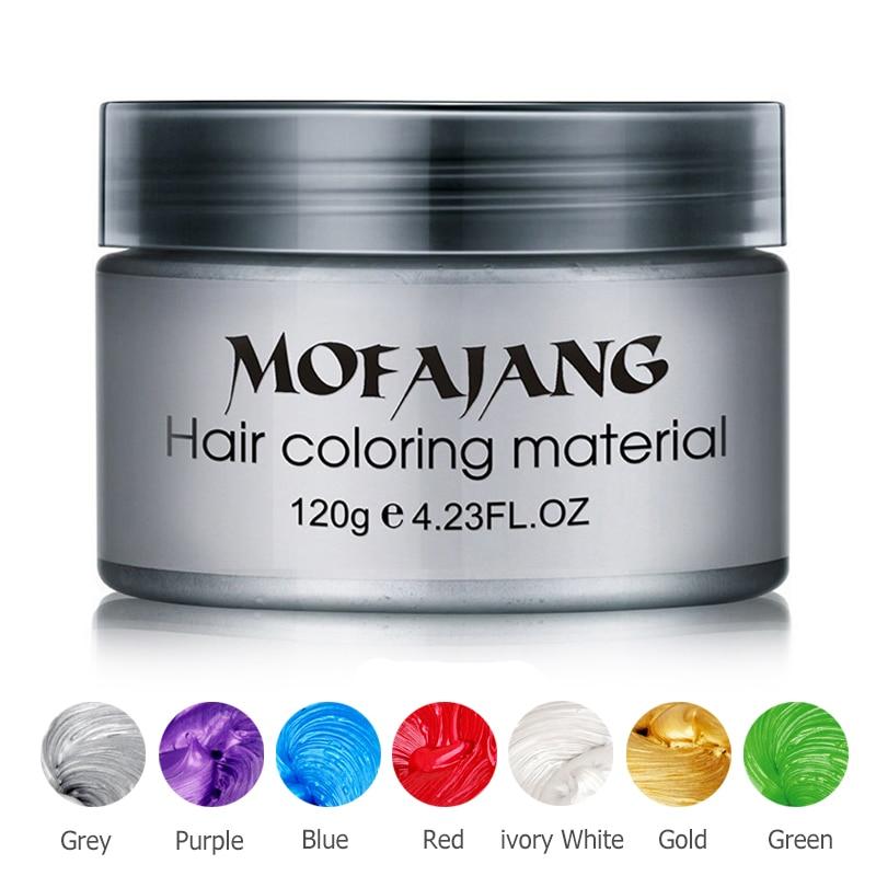 Color de pelo de estilo pomada de plata de la abuela Grey tinte temporal desechable Festival de la moda de celebrar de colorear barro crema