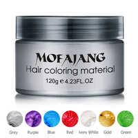 Couleur cheveux cire style pommade argent grand-mère gris teinture temporaire jetable Festival de mode célébrer moulage coloration boue crème