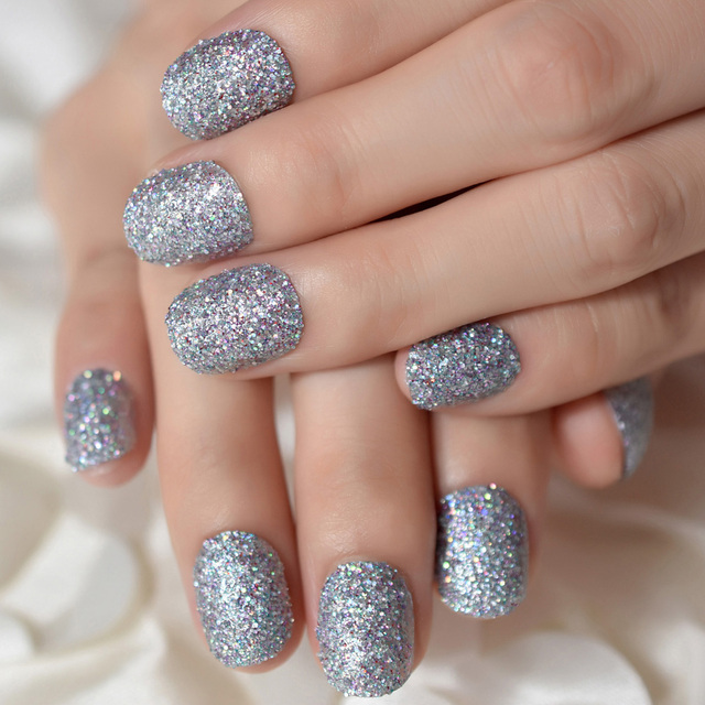 Silver Glitter Press On Nail Short Round Design Artificial False Nails Easy Diy Full Tips