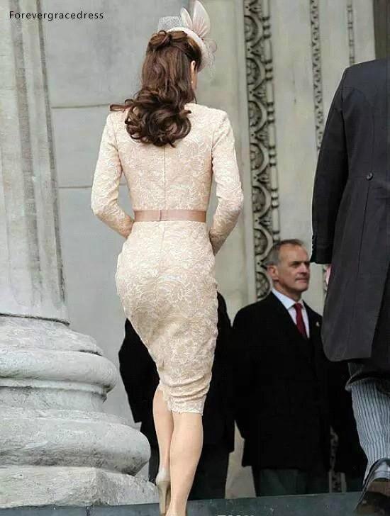 Elegant Kate Middleton Champagne Short Evening Dresses for Women Wear Knee Length Lace Long Sleeve Celebrity Cocktail Formal Gowns BC1434  115 (2)