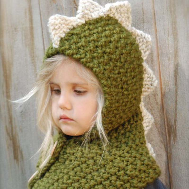 1 Pcs 2016 New Children Manual Knitting Dinosaur Hats Scarf Hat Sets Autumn Winter Keep Warm Baby Hats Suit 2-12 Year Olds 8497