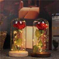 Eternal Red Rose in a Glass Dome on a Wooden Base Artificial Rose Decorative Flower for Wedding Party Decorations