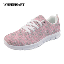 WHEREISART Womens Sneakers Pink Cartoon Cute Shark Fashion Female Mesh Flat Shoes Lightweight Ladies Zapatillas Mujer Sapato