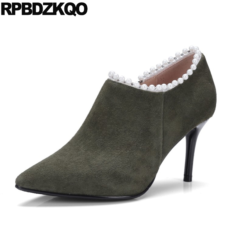 Pearl Short Green Autumn High Heel Ankle Booties Genuine Leather Boots Elegant Suede Luxury Brand Shoes Women Sheepskin Pointed elegant beige high heel 2017 booties autumn chunky metal genuine leather luxury brand shoes women boots short ankle pointed toe