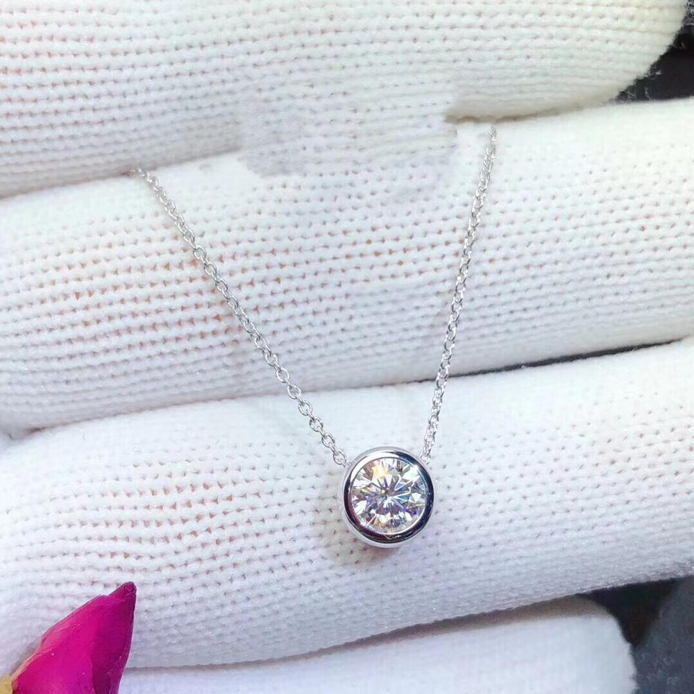 moissanite necklace,1 carat gemstone, simplest style, 925 Sterling silver, classic design, girl's Necklace