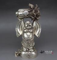 Old Chinese Big belly Buddha Buddha ornaments cloth Maitreya Buddha wealthy treasure gift,Free shipping
