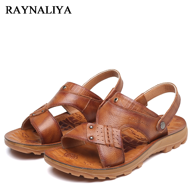 Fashion Summer Anti-slip Sole Soft Leather Flat Man Sandal Slip-on Slippers Breathable All-match Style Casual Shoes DO-0083