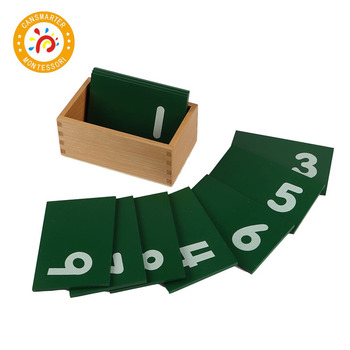 Baby Toy Montessori Math Sandpaper Number With Box Wooden Preschool Learning Number Exercise Toy Games Early Education MA010 baby toy montessori material math introduction to decimal symbol wooden learning numbers early education children toy