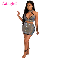 Adogirl Women Diamonds Two Piece Set Dress Deep V Neck Sleeveless Open Back Halter Crop Top + Bodycon Mini Skirt Club Outfits