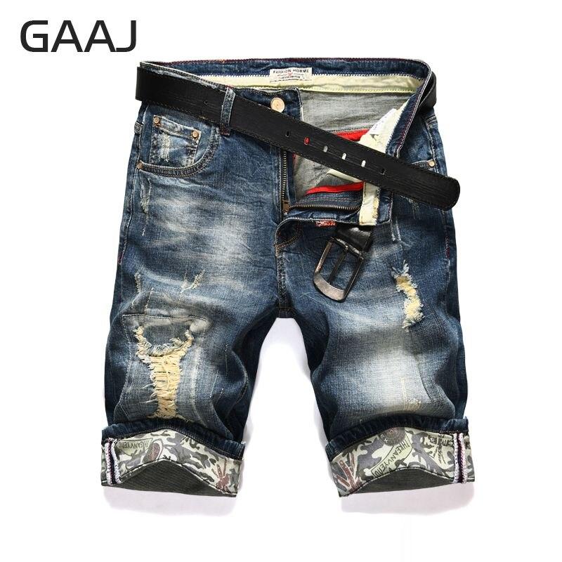 Shunht Mens Casual Summer Straight Embroidery Denim Jean Shorts