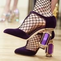 2018 г. новые туфли из натуральной кожи черный бархат кристалл Бисер Jewel каблук Для женщин насосы круглый носок Женские туфли с Т образным реме