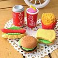 1Pcs Cute Kawaii Cake Hamburger Food Drink Cola Rubber Eraser Set Stationery School Office Erase Supplies Fruit Kids Gifts
