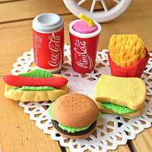 Cola hamburger eraser erase drink stationery kawaii cake office supplies fruit