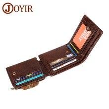 JOYIR Men Wallets Genuine Leather Vintage Trifold Wallet Coin Pocket Purse Cowhide For Mens Male Portomonee RFID