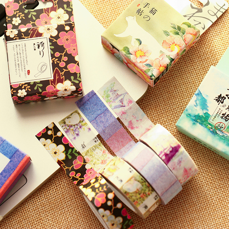Misstime Paper Masking Tapes Japanese Washi Tape Diy Scrapbooking Sticker Stationery School Supplies Papeleria 12pcs lot vegetab fruit plant paper masking tape japanese washi tapes set 3cm 5m stickers kawaii school supplies papeleria 7161