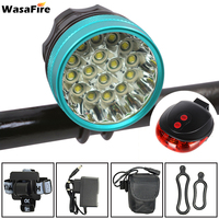 WasaFire 40000 Lumen 16*T6 LEDs Bicycle Lamp front Headlight Riding Cycling Bike Front Light +Laser bike Tail Light for Outdoor