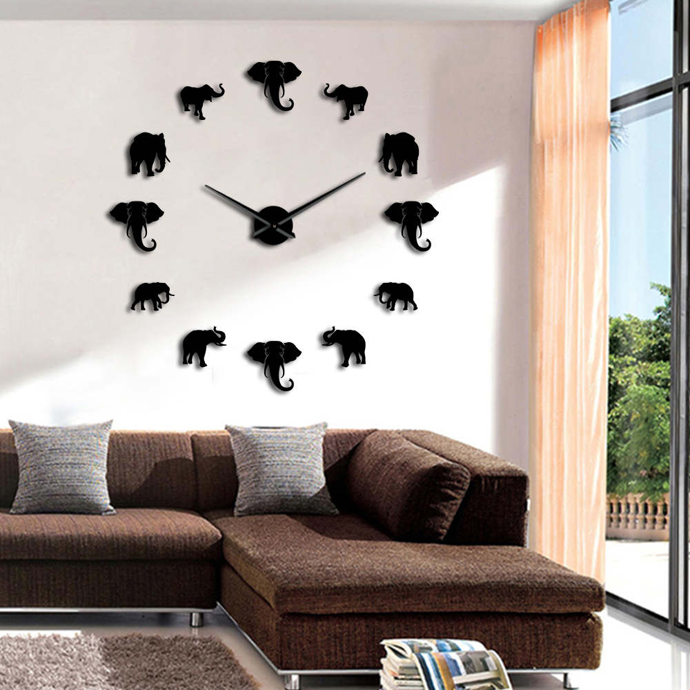1piece creative wall sticker watch jungle animals elephant - Watch the elephant in the living room ...
