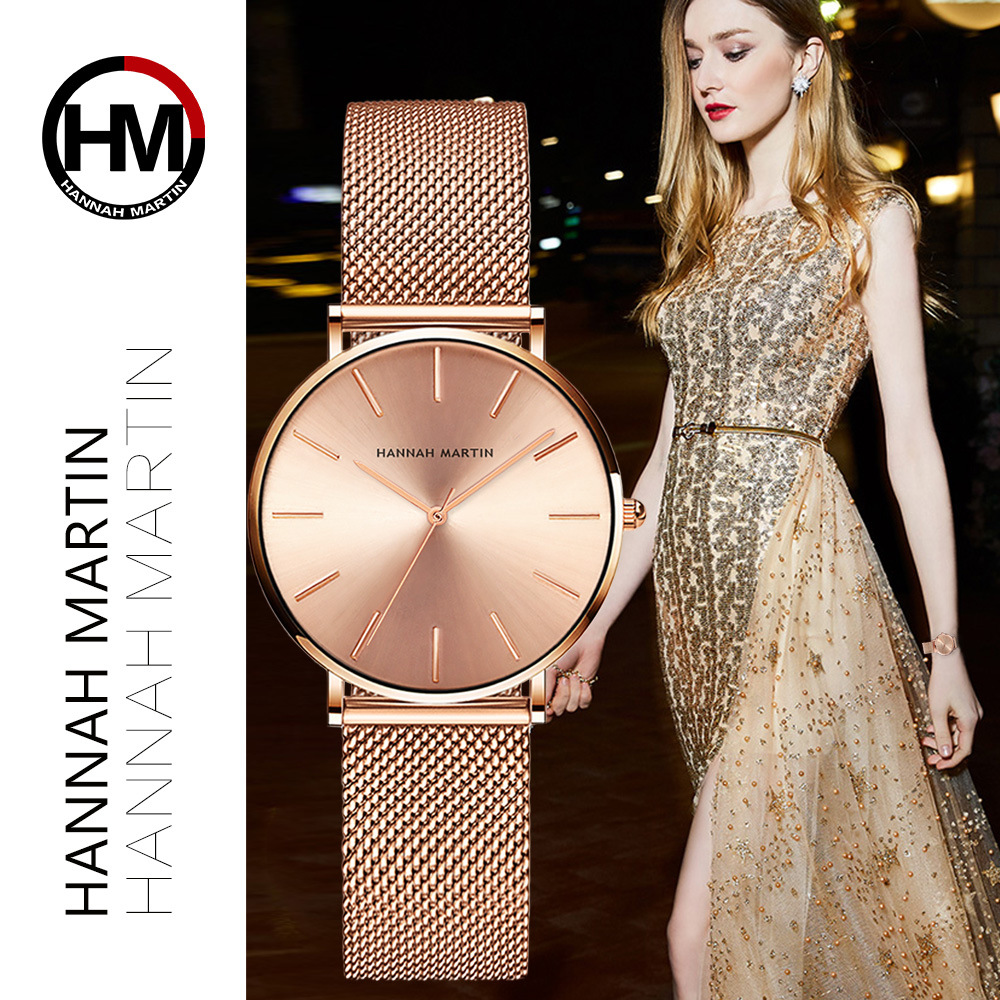 Hannah Martin Fashion Casual Women Watches Rose Gold Simple Ladies Watches Quartz Wristwatches relogio feminino Clock Gift Box cussi 2018 gold women bracelet watches fashion ladies watches clock womens quartz wristwatches relogio feminino reloj mujer gift