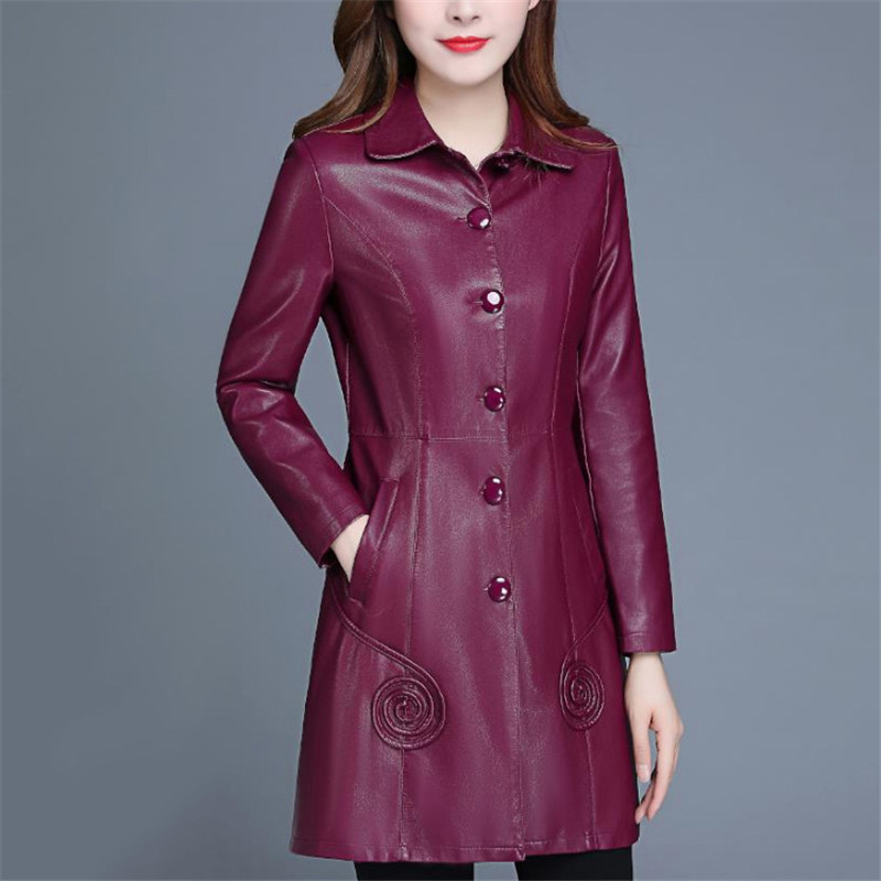 Leather   Jacket Women Wine Red Long PU Faux   Leather   Coat 2019 New Autumn Winter Korean Slim Black XL-6XL Plus Size Clothing LR247