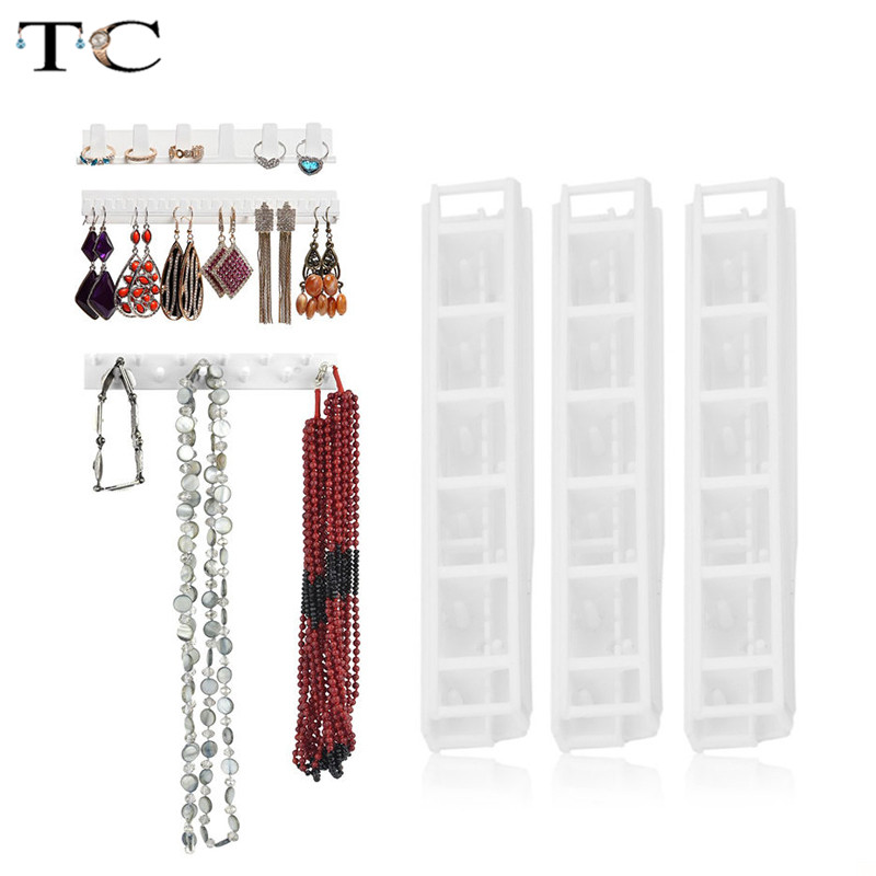 9Pcs/Lot Wall Hanging Shelf Jewelry Necklace Rings Earrings Keys Display Stand Rack Holder Organizer