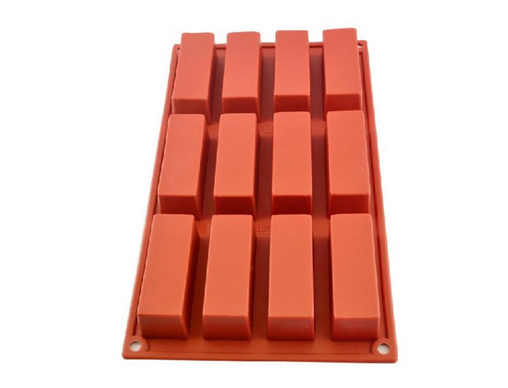 12 Cavities Rectangle Silicone Oven Handmade Soap Molds Soap DIY Molds Chocolate Mold