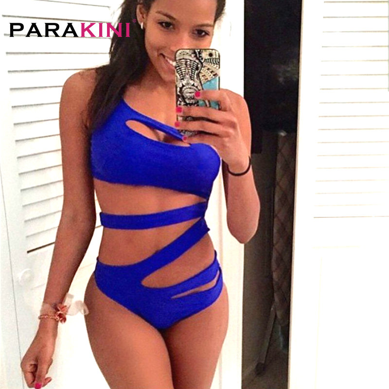 PARAKINI 2018 One Piece Bandage Swimsuit Women One Shoulder Sexy High Cut Out Monokini Swimwear Bathing Suits Bodysuit Trikinis spaghetti strap color block cut out one piece swimwear