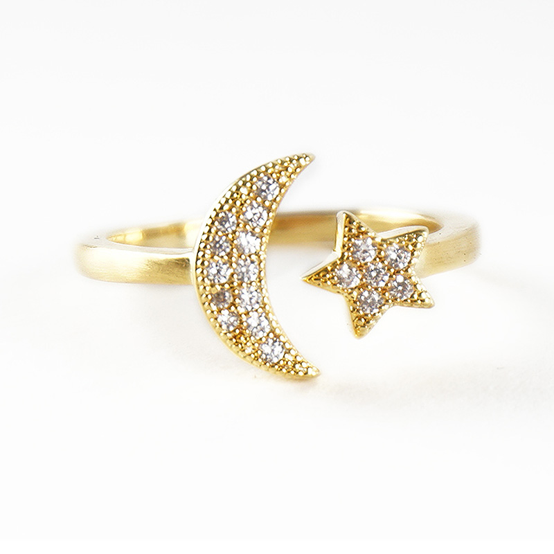(1 шт./лот) золотое кольцо Для мужчин Медь Материал гибкие Регулируемый Открытие Кольцо фианит Moon Star Золотое кольцо