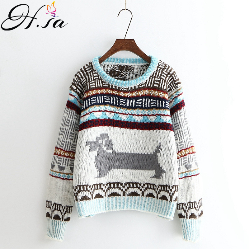 4041f1ae6fd6bd H.SA Women Christmas Sweaters 2017 Autumn Winter Pullovers Casual Vintage  Patchwork Jumpers Loose Style