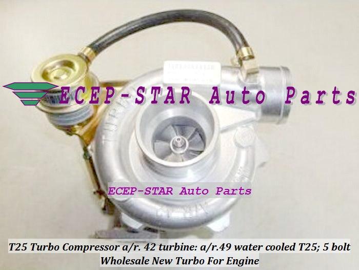 Бесплатная доставка Turbo Турбокомпрессоры входной фланец T25 компрессор/r. 42 турбины/r.49 Outlet фланец с 5 болтов воды c Turbo зарядное устройство ...